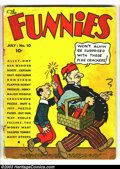 Golden Age (1938-1955):Humor, Funnies #10 (Dell, 1937) Condition: GD. Alley Oop, Captain Easy, Dan Dunn, Major Hoople, Mutt and Jeff, many others. Cover d...