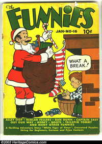 Funnies #16 (Dell, 1938) Condition: GD+. Mutt and Jeff Christmas cover. Alley Oop, Captain Easy, Dan Dunn, Major Hoople...