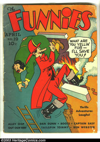 Funnies #19 (Dell, 1938) Condition: GD. Mutt and Jeff cover. Alley Oop, Captain Easy, Dan Dunn, Major Hoople, Out Our Wa...