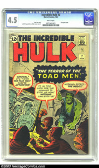 The Incredible Hulk #2 (Marvel, 1962) CGC 4.5 VG+ White pages. First green Hulk. Jack Kirby and Steve Ditko artwork. Ove...