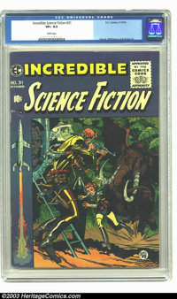Incredible Science Fiction #31 (EC, 1955) CGC VF+ 8.5 White pages. Jack Davis cover art. Interior art by Wally Wood, Al...