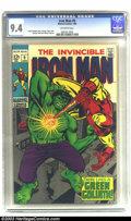 Silver Age (1956-1969):Superhero, Iron Man #9 (Marvel, 1969) CGC NM 9.4 Off-white pages. George Tuska and Johnny Craig artwork. Overstreet 2003 NM 9.4 value =...