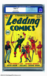 Leading Comics #1 Rockford pedigree (DC, 1941) CGC VF/NM 9.0 Cream to off-white pages. Premiere issue. Origin of the Sev...