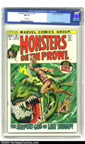 Bronze Age (1970-1979):Horror, Monsters on the Prowl #16 (Marvel, 1972) CGC NM 9.4 White pages.King Kull fourth appearance. John Severin cover and art. Ov...