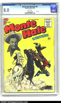 Monte Hale Western #87 (Fawcett, 1955) CGC VF 8.0 White pages. Highest grade yet assigned by CGC for this issue. Overstr...