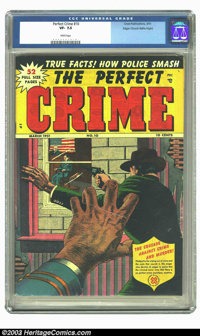 Perfect Crime #10 Mile High pedigree (Cross Publications, 1951) CGC VF- 7.5 White pages. This thriller cover presents an...