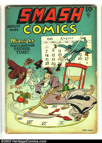 Smash Comics #84 (Quality, 1949) Condition: VG-. Jack Cole cover. Overstreet 2003 VG 4.0 value = $42