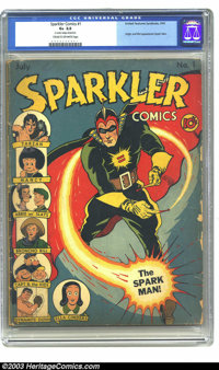 """Sparkler Comics #1 (United Features Syndicate, 1940) CGC G+ 2.5 Cream to off-white pages. CGC notes: """"two center wr..."""