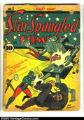 Golden Age (1938-1955):Superhero, Star Spangled Comics #1 (DC, 1941) Condition: FR. Howard Sherman robot cover. Origin and first appearance Tarantula. Also fe...