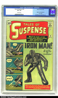 Silver Age (1956-1969):Superhero, Tales of Suspense #39 (Marvel, 1963) CGC VF+ 8.5 Off-white pages.Origin and first appearance of Iron Man. Jack Kirby cover ...