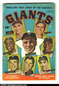 Golden Age (1938-1955):Non-Fiction, Thrilling True story of the Baseball Giants #1 (Fawcett, 1952)Condition: GD+. Photo cover. Willie Mays rookie photo-biograp...