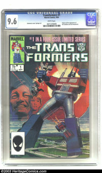 Transformers #1 (Marvel, 1984) CGC NM+ 9.6 Off-white pages. Bill Sienkiewicz cover art. Origin and first appearance of t...