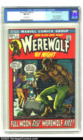 Bronze Age (1970-1979):Horror, Werewolf by Night #1 (Marvel, 1972) CGC NM 9.4 Off-white pages.Mike Ploog cover and art. Story continued from Marvel Spot...