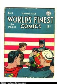 World's Finest Comics #6 (DC, 1942) Condition: GD/VG. This book has a really cool cover from 1942. It's another solid bo...