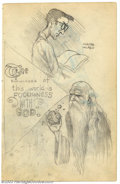 Original Comic Art:Sketches, Robert Crumb - Original Sketches, Walter Mackey and God (1961). Very nice two-sided sketchbook page features portraits of Wa...