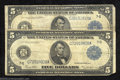 Large Size:Federal Reserve Notes, Two 1914 $5 Federal Reserve Notes, Fr-871a, Very Good. These ... (2notes)