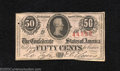 Confederate Notes:1863 Issues, 1863 50 Cents Bust of Jefferson Davis, T-63, Very Fine. A ...