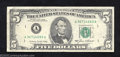Error Notes:Ink Smears, 1985 $5 Federal Reserve Note, Fr-1528, Very Fine. The back ...