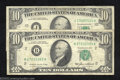 Error Notes:Ink Smears, 1985 $10 Federal Reserve Note, Fr-2027-B, Fine and 1985 $10 ... (2notes)