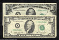 Error Notes:Error Group Lots, 1950-B $10 Federal Reserve Note, Fr-2012-C, Extremely Fine, ... (2notes)