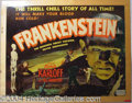 "Autographs, ""Frankenstein"" Boris Karloff, Half Sheet, 1951 Re-issue"