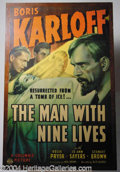 "Autographs, ""Man With Nine Lives"", Boris Karloff, One Sheet, 1940"