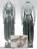 Autographs, Gay Blackstone's Silver halter jumpsuit with palazzo pants