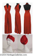 Autographs, Burndt Sienna Halter Dress with Jeweled Bodice and Turban