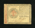 Colonial Notes:Continental Congress Issues, Continental Currency January 14, 1779 $80 Extremely Fine. A scarcerdenomination that has bold printing and a lightly clippe...