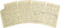 "Autographs:Non-American, Historic Benito Mussolini Autograph Speech Draft, four pages, 9"" x11"", separate sheets. Dated in pencil in unknown hand in ..."