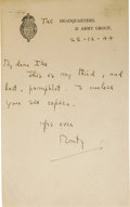 "Autographs:Military Figures, Montgomery of Alamein Autograph Letter Signed ""Monty,"" one page, 4.25"" x 7"". TAC Headquarters, 21 Army Group, December 2..."