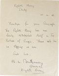 "Autographs:Military Figures, Montgomery of Alamein Manuscript Letter Signed ""B.L.Montgomery/General/Eighth Army,"" one page, 5.25"" x 7"". EighthArmy,..."