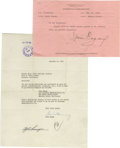 Movie/TV Memorabilia:Autographs and Signed Items, Jack Benny and James Cagney Signed Letter. Included is a businessletter dated November 15, 1946, and signed by Benny in blu...