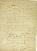"Autographs:Non-American, Marie Antoinette Document Signed in full as queen, one page inFrench, 9.5"" x 13.25"", March 1, 1785, n.p. Some tears and rep..."
