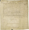 "Autographs:Non-American, Henry III of France Document Signed ""Henri"", one page inFrench, 11"" x 11"", on vellum, 1580, n.p.. Henry III (1551 - 15..."