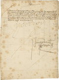 "Autographs:Non-American, Charles V of Spain Document Signed ""Yo El Rey"" as king, twopages (front and verso) in Spanish, 8.25"" x 11.25"", n.d., n..."