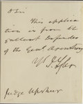 """Autographs:U.S. Presidents, John Tyler Fine Content Autograph Letter Signed """"J. Tyler"""" as President, one page, 4 x 5 inches (sight), [no place, ..."""