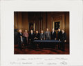 "Autographs:Statesmen, Oversized Color Photograph Signed by All Members of the Rehnquist Supreme Court. A 14"" x 10.5"" (sight) color portrait of the..."