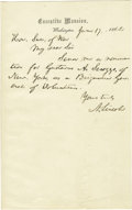 "Autographs:U.S. Presidents, Abraham Lincoln Autograph Letter Signed ""A. Lincoln"" asPresident, one page, 5"" x 8"". On Executive Mansion stationery, W..."