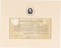 """Autographs:U.S. Presidents, James Madison as President Document Signed Five Days BeforeWashington Burned, one page, matted to a sight size of 13.25"""" x ..."""