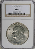 Eisenhower Dollars: , 1972 $1 Type Three MS65 NGC. A highly lustrous Gem that has a blush of gold on each side. A good strike, although some triv...