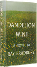 Books:First Editions, Ray Bradbury: Dandelion Wine. (Garden City, New York:Doubleday, 1957), first edition, 281 pages, yellow cloth withblue...