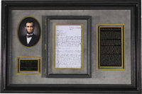 """Abraham Lincoln Autograph Legal Document Signed """"Lincoln & Herndon for defts"""". Two pages (front and verso..."""