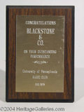 Autographs, Blackstone Award: 12/78 Univ. of PA - Outstanding Performance