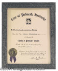 Autographs, Harry Blackstone Jr. Honorary Certificate from Paducah, KY