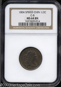 1804 1/2 C Spiked Chin MS64 Brown NGC. ...(PCGS# 1075)