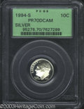 Proof Roosevelt Dimes: , 1994-S Silver PR 70 Deep Cameo PCGS. ...