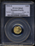 Commemorative Gold: , 1915-S Panama-Pacific Gold Dollar MS65 PCGS. ...