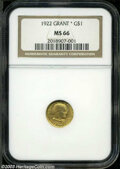 Commemorative Gold: , 1922 Grant with Star MS66 NGC. ...