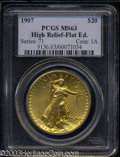 High Relief Double Eagles: , 1907 High Relief, Flat Rim MS63 PCGS. ...